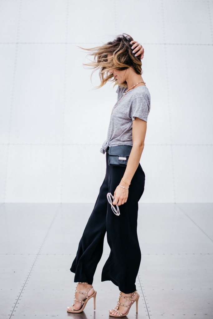 studded heeled gladiator sandals, Black palazzo cropped pants, J.Crew vintage tee, Jenny Bird necklace, Chicago Fashion Blogger, Sports and Fashion