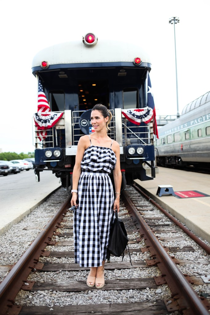 Black and White Plaid Off The Shoulder Dress, Patrick Henry Creative Promotions, Chicago Fashion Blogger, Fourth of July Fashion