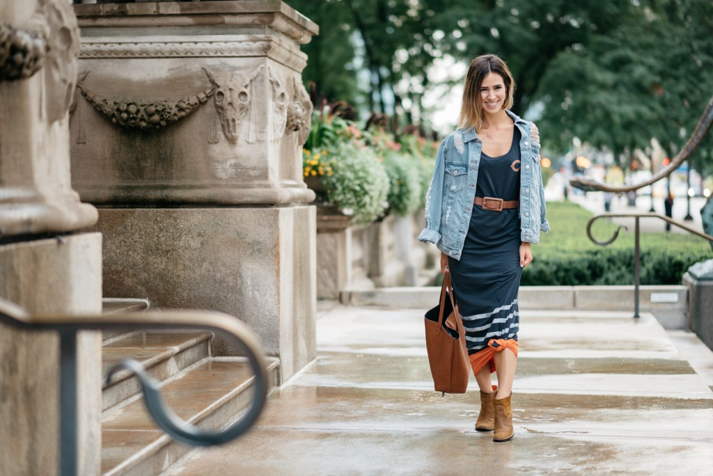 NFL Fan Style Blogger, Chicago Fashion Blogger, Dolce Vita Booties, Chicago Bears Maxi Dress, Game Day Fashion, Sports and fashion