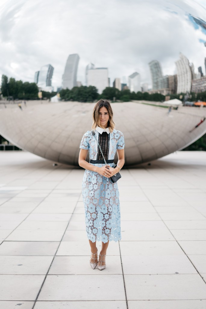 Blue Cut Out Floral Lace Midi Dress, Valentino Rock Stud Pumps, Cloud Gate, Chicago Fashion Blogger, Sports and Fashion