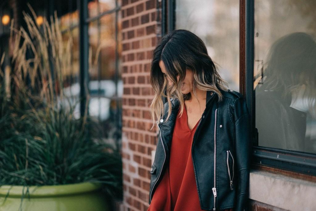 Blank NYC Moto Jacket and Ruffle Long Sleeve Shift Dress