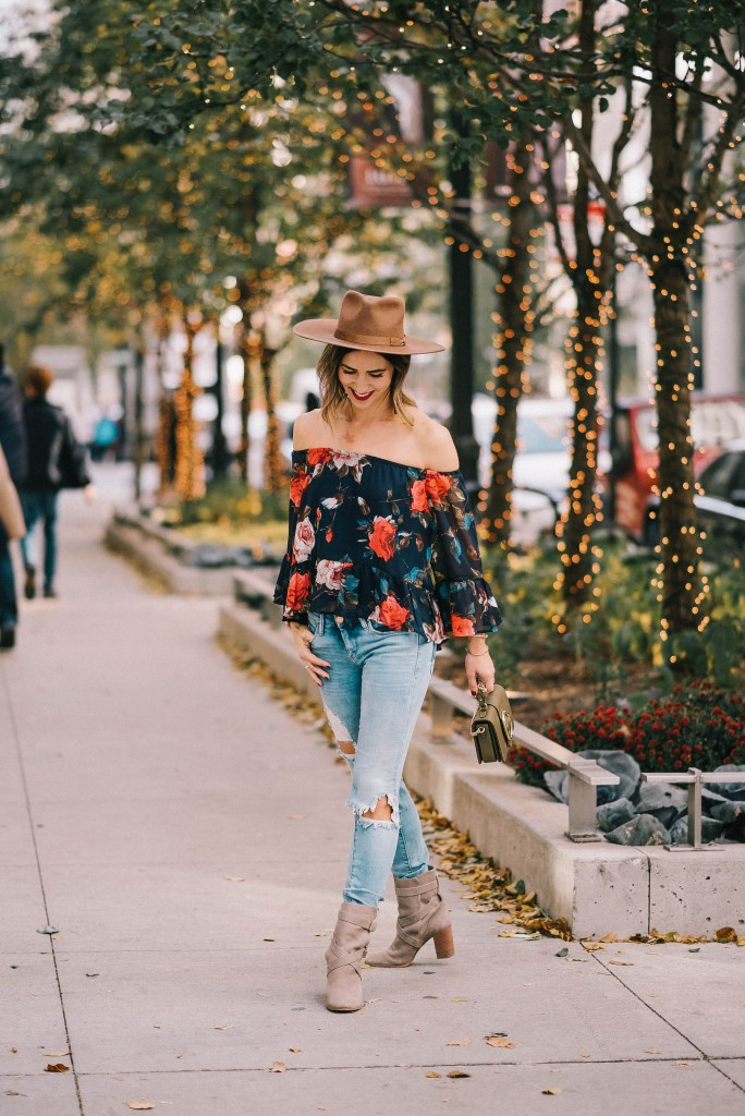 Brixton Wide Brim Hat and Multicolor Floral Off The Shoulder Blouse