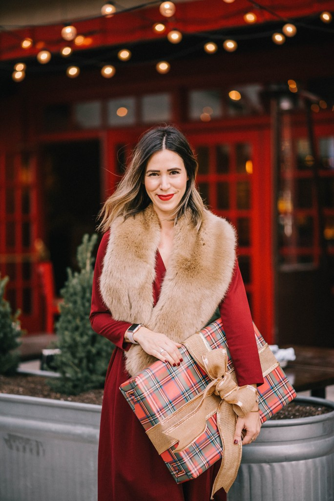 Red wrap dress for the holidays and faux fur stole
