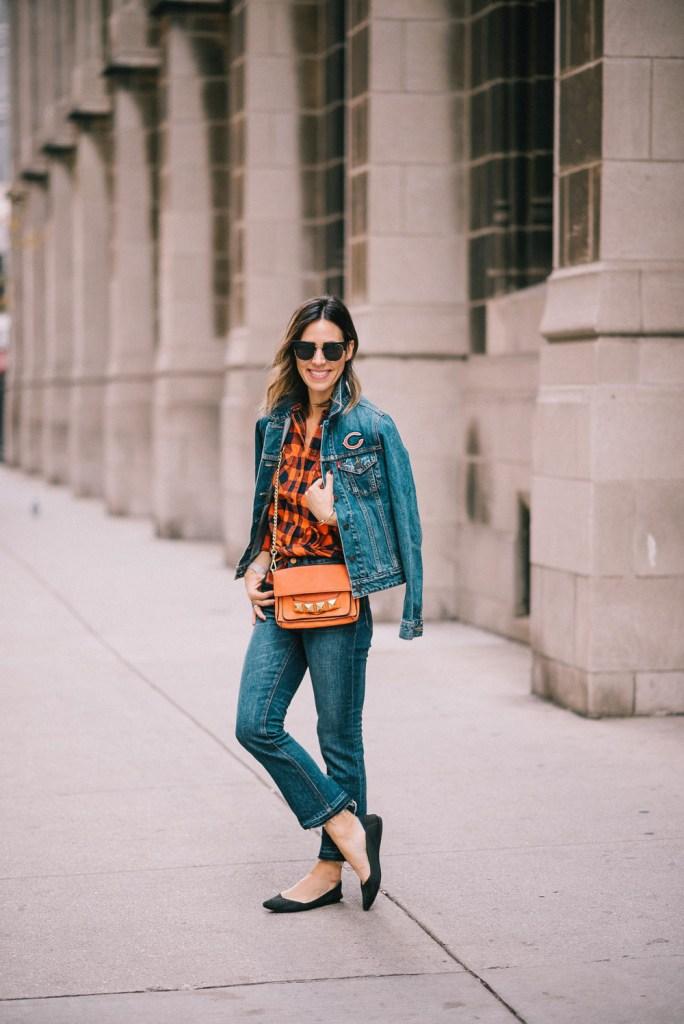 Blogger Mary Krosnjar sharing Super Bowl game day fashion ideas