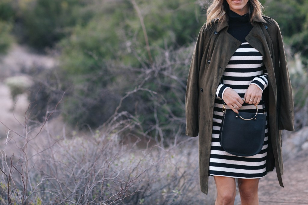 Striped Turtleneck Dress and Suede Trench Coat
