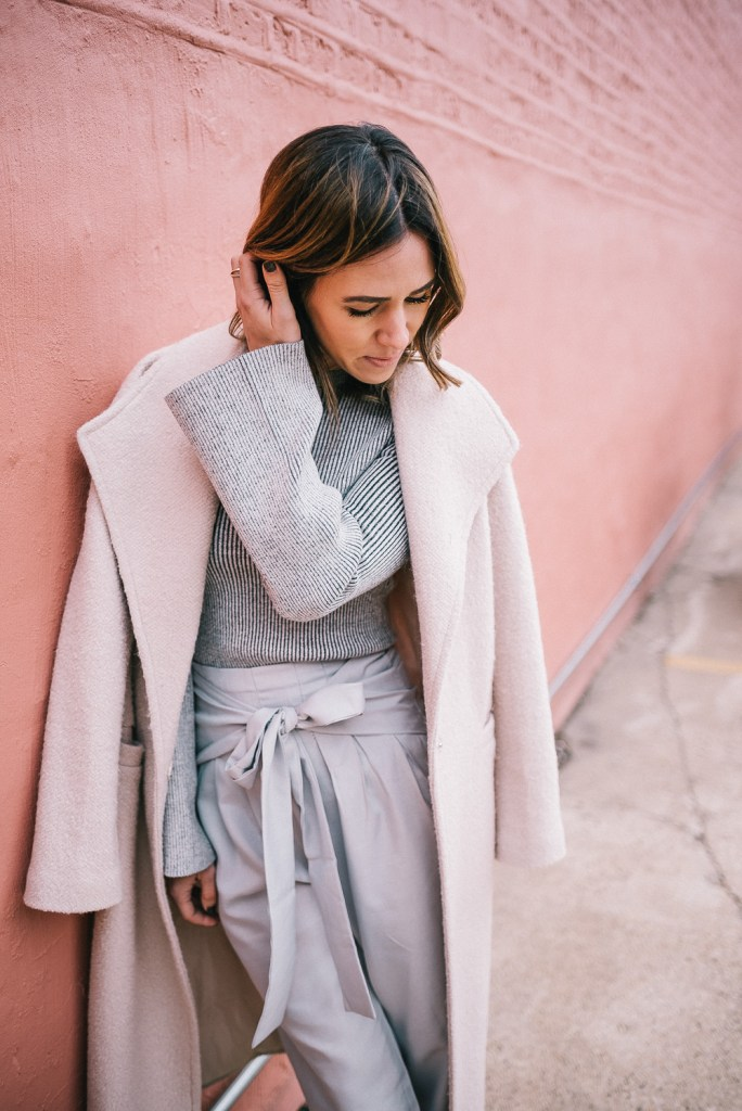 Blogger Mary Krosnjar with ASOS Duster Coat and Ribbed Target Sweater