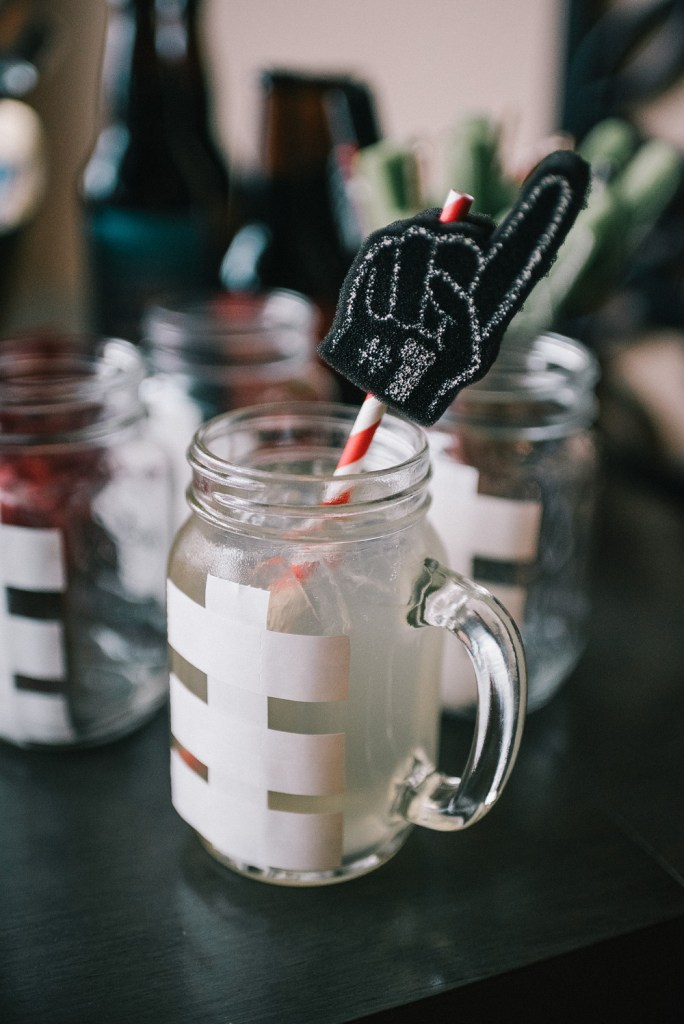 DIY ideas for Super Bowl Party and foam finger straws