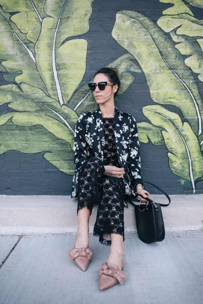 Blogger Mary Krosnjar wearing Lace and Floral Look for Spring from Rent the Runway