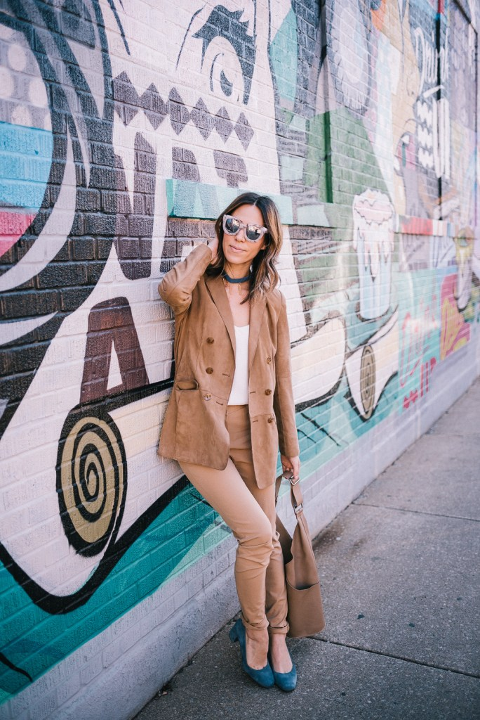 Mary Krosnjar wearing Quay Mirrored Sunglasses and Worth New York Suede Blazer