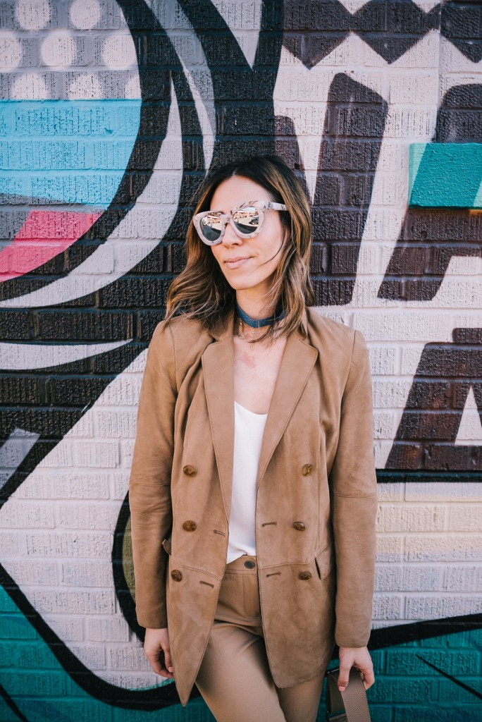 Blogger Mary Krosnjar wearing Suede Worth New York Blazer and Quay Mirrored Sunglasses