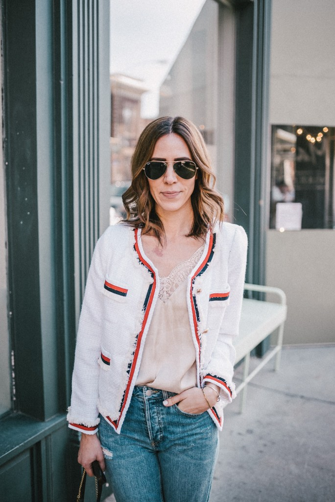 Blogger Mary Krosnjar wearing White Striped Trim Frayed Tweed Jacket and H&M Silk Cami
