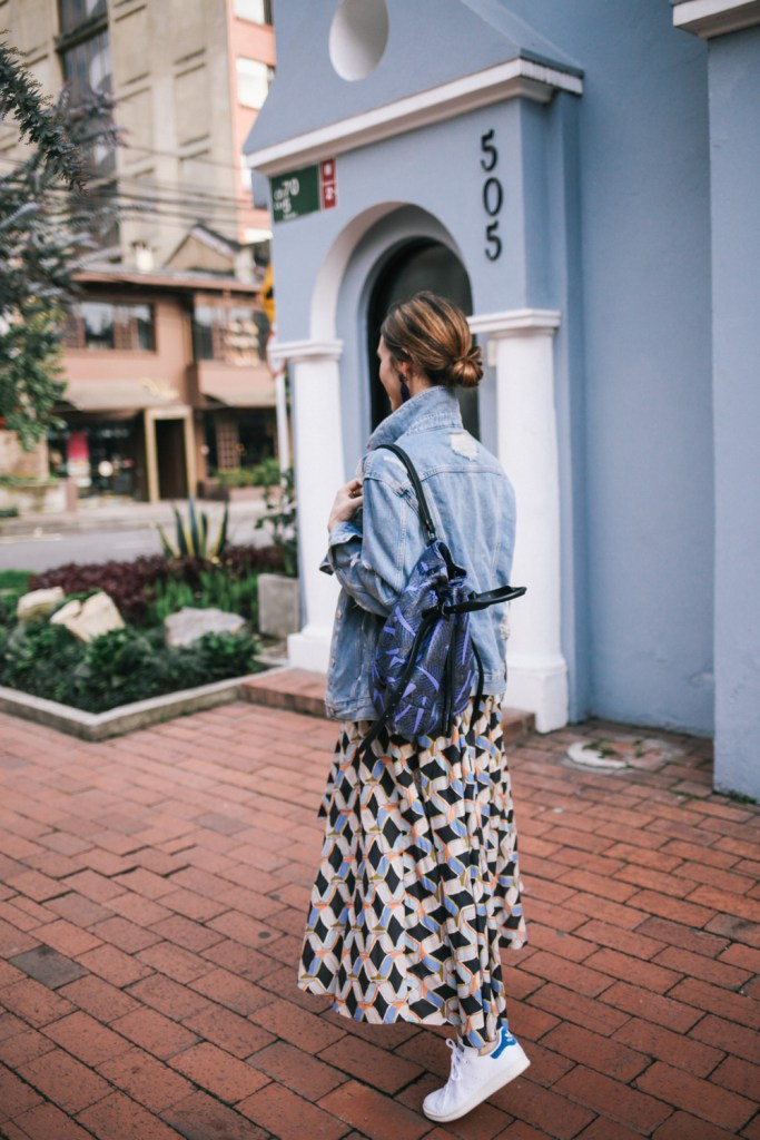 Blogger Mary Krosnjar Opening Ceremony Printed Backpack and Stan Smith Adidas sneaker