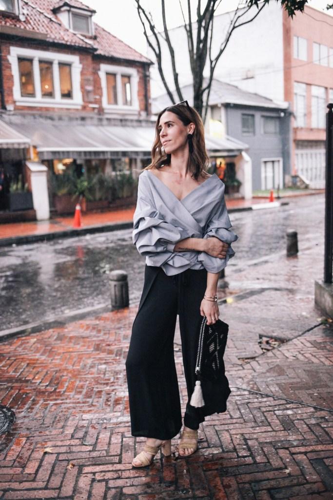 Blogger Mary Krosnjar wearing Bailey 44 Cropped Pants in Bogota Columbia
