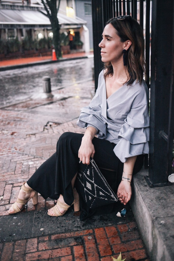 Blogger Mary Krosnjar wearing Sole Society Tasseled Woven Clutch and Oscar de la Renta earrings