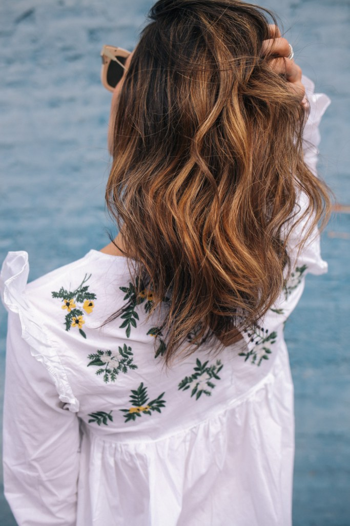 White Embroidery Ruffle Trim Pleated Blouse and short hair ombre