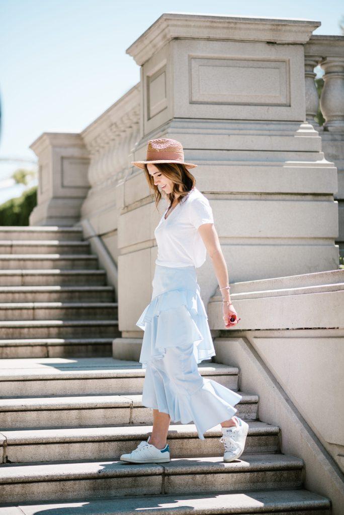 Blogger Mary Krosnjar wearing Chelsea Ruffle Midi Skirt and Lou & Grey Linen tee