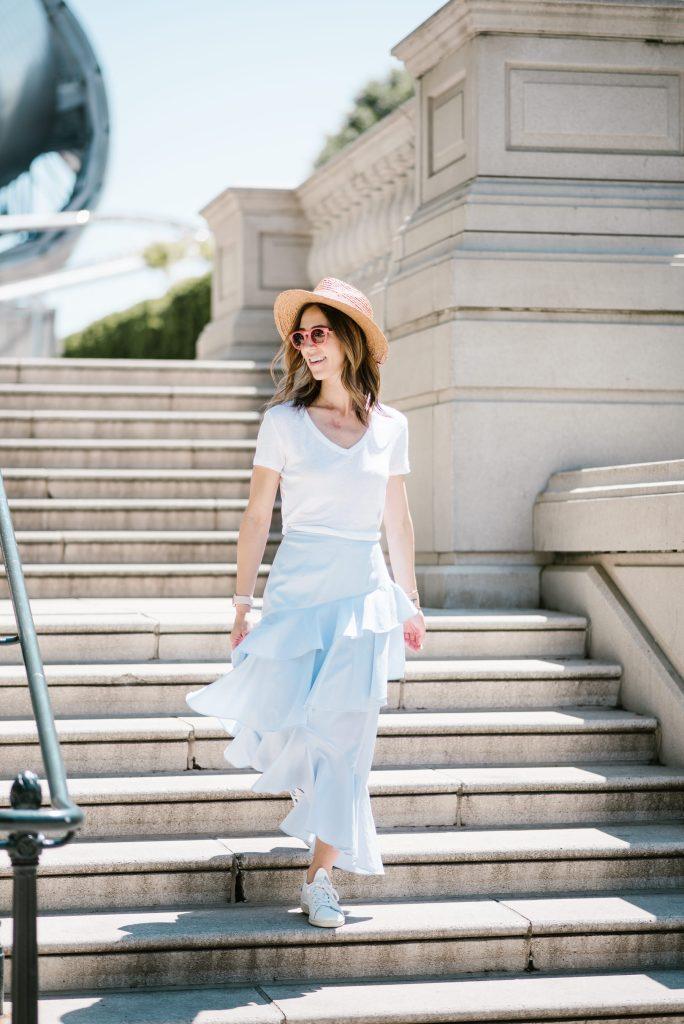 Blogger Mary Krosnjar wearing Chelsea Ruffle Midi Skirt and Stan Smith