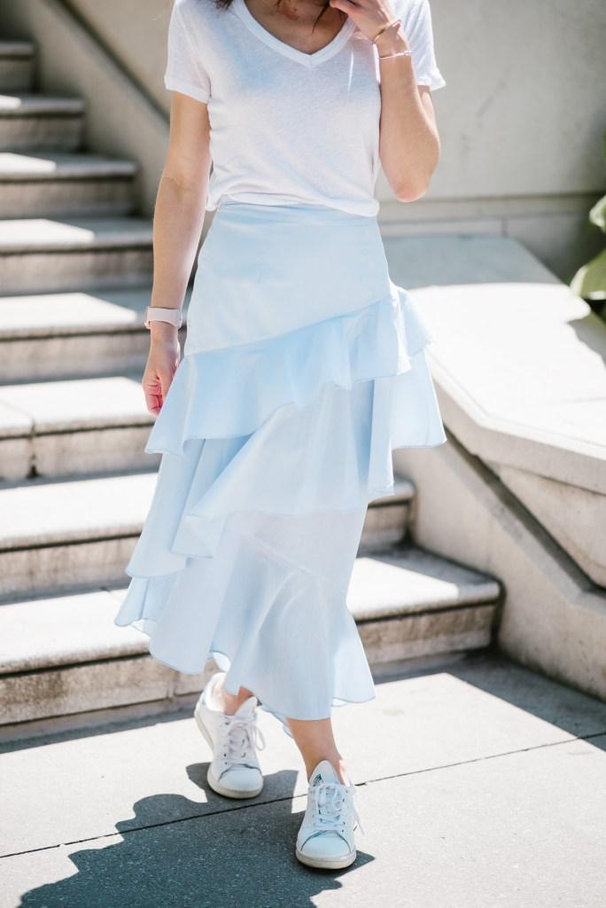 Blogger Mary Krosnjar wearing Chelsea Ruffle Midi Skirt