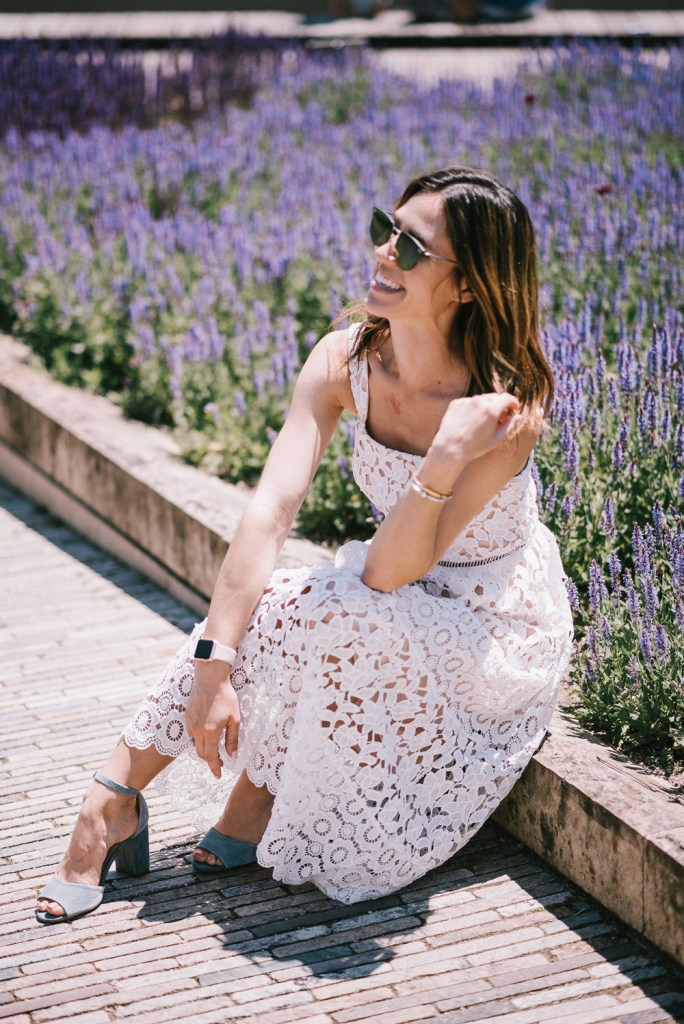 Morning Lavender White Lace Midi Dress and Chicago Fashion Blogger