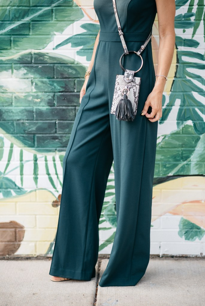 Blogger Mary Krosnjar Donna Morgan Sweetheart Neck Jumpsuit and Who What Wear Bag