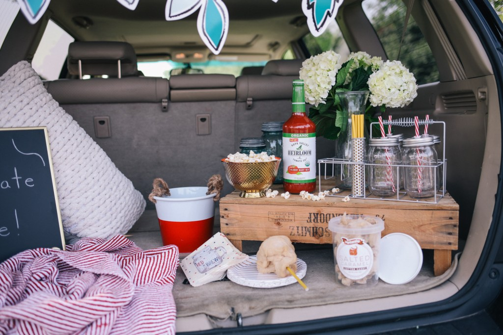 Blogger Mary Krosnjar building a DIY tailgate with Marshalls for Football