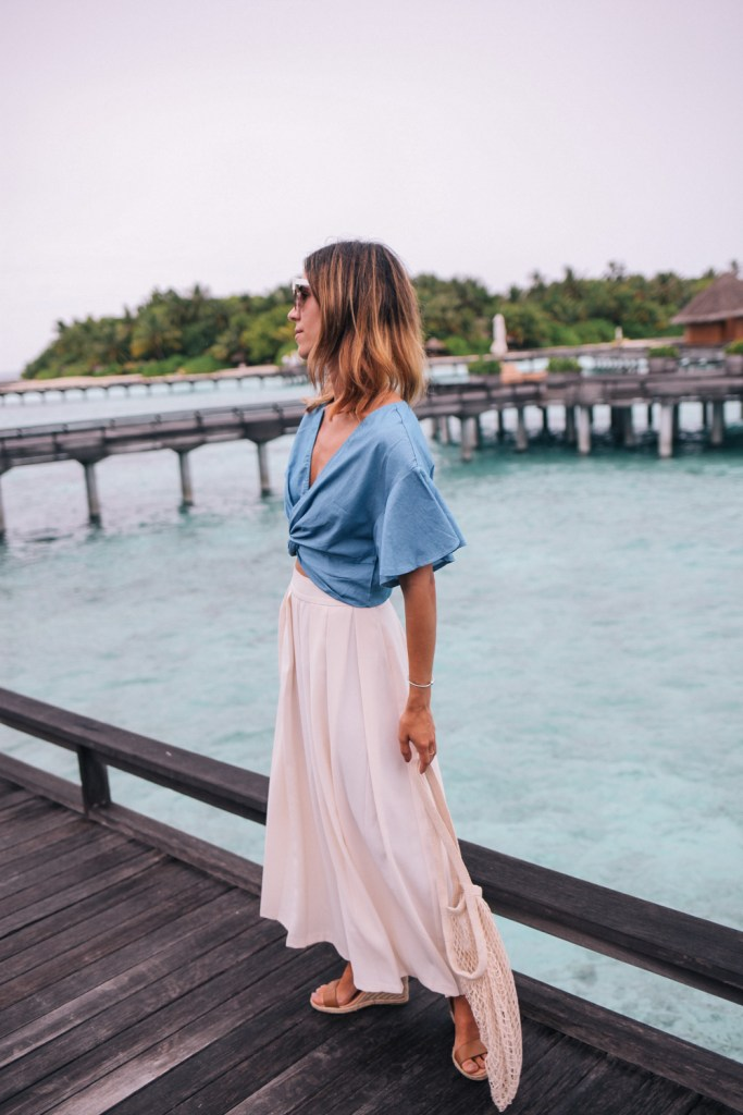 Chambray crop top with flutter sleeves styled with ASOS Wide Leg Pant