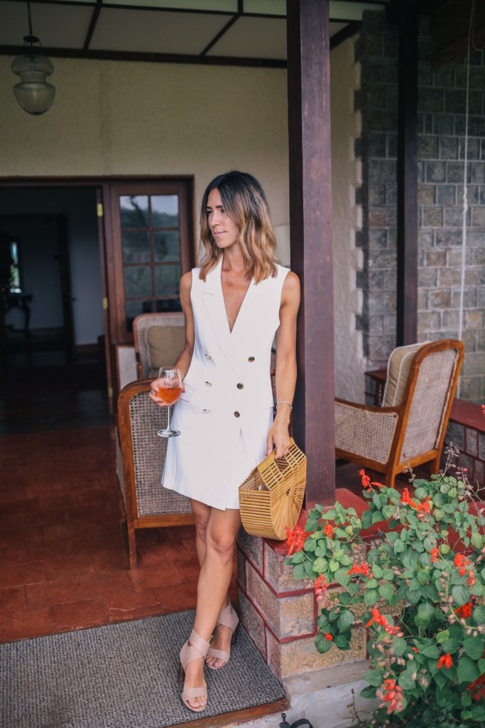 Blogger Mary Krosnjar wearing Topshop Double Breasted Blazer Dress and Splendid Jayla Sandals