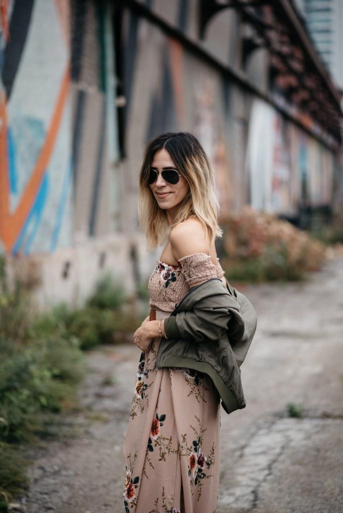 Blogger Mary Krosnjar wearing Floral Tulip Hem Dress and Khaki Bomber jacket