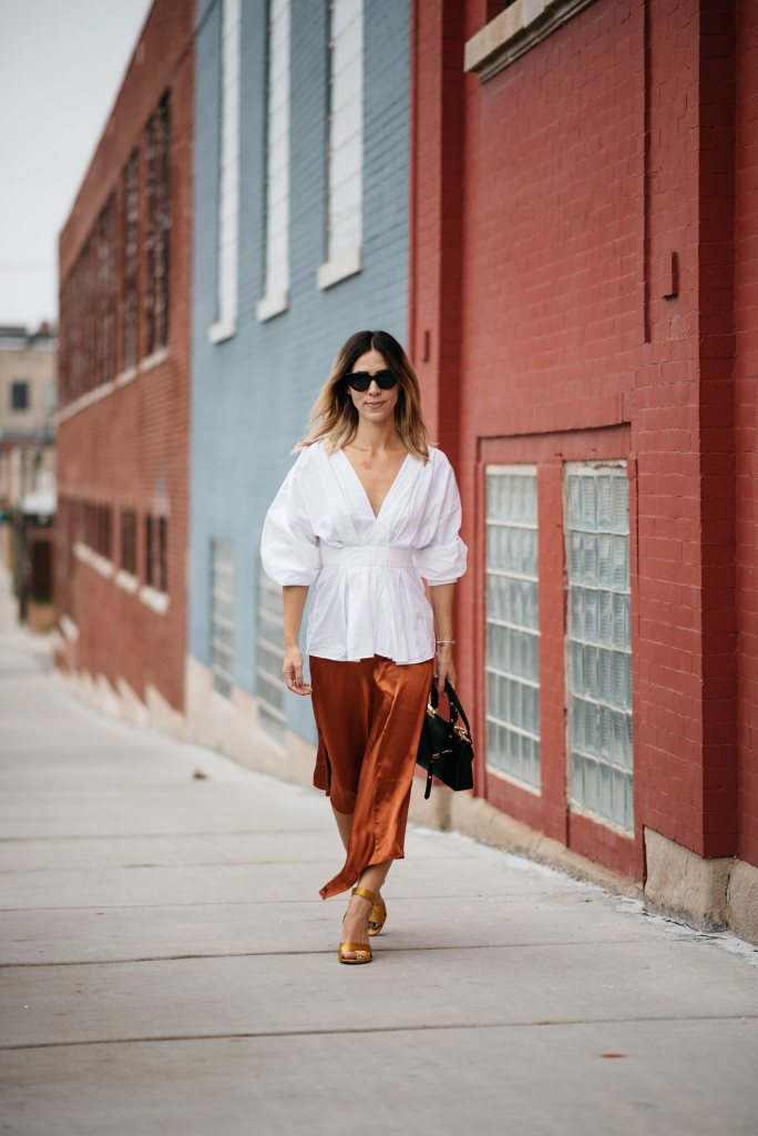 H&M Rust Satin Skirt and H&M white oversized blouse