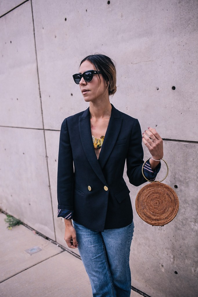 JCrew Wool Woven Blazer and Quay Cat Eye Sunglasses