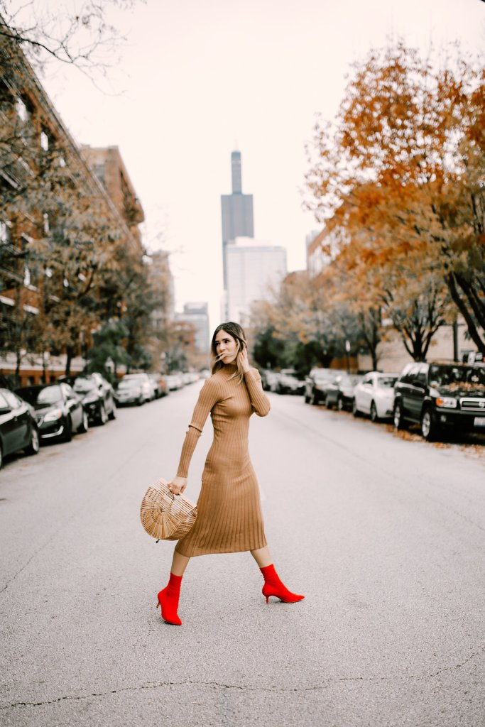 Blogger Mary Krosnjar wearing Tan Knit Dress with Red Ankle Booties