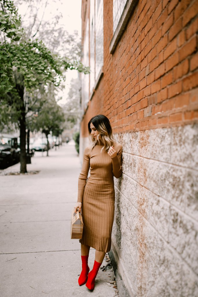 Tan Knit Dress and Red Ankle Booties for the Holidays