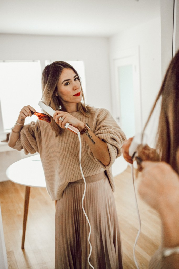Blogger Mary Krosnjar sharing Winter Hair Routine