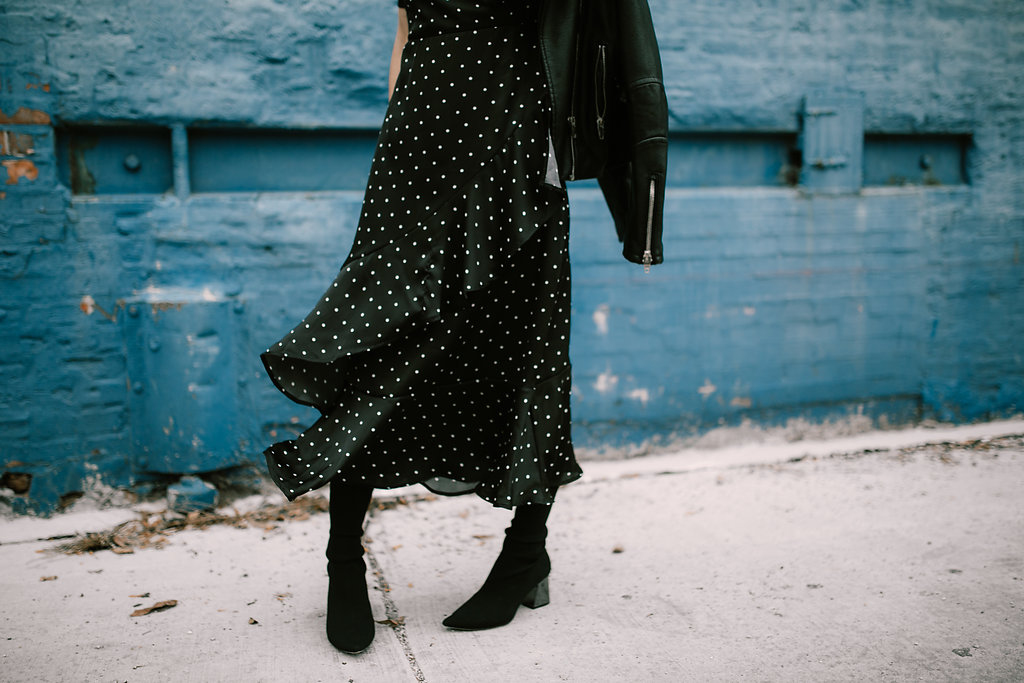 Blogger Mary Krosnjar wear Forever 21 Polka Dot Ruffle Dress and Fabric Style Booties