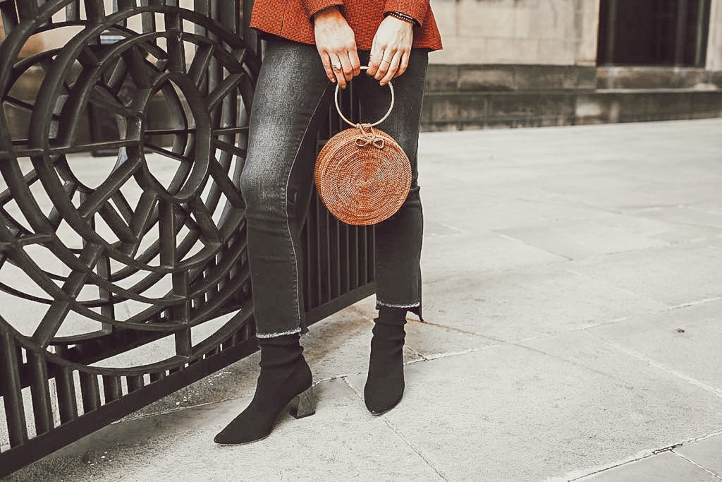 Blogger Mary Krosnjar wearing Sock Style Booties and Universal Thread Cropped Distressed denim