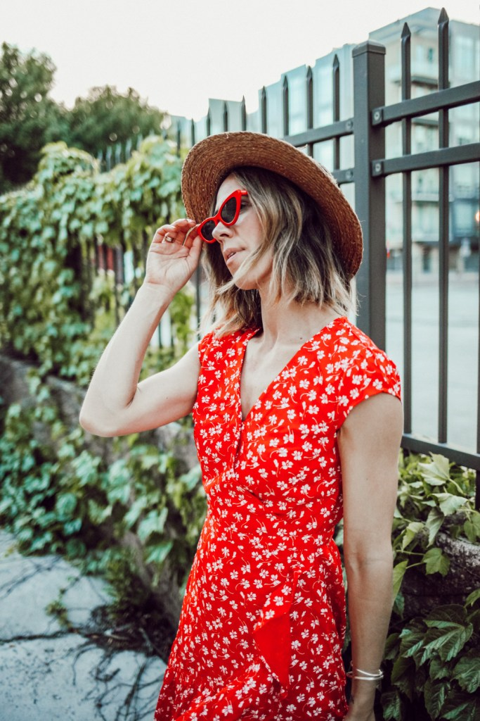 Blogger Mary Krosnjar wearing J.Crew Floral Wrap Dress
