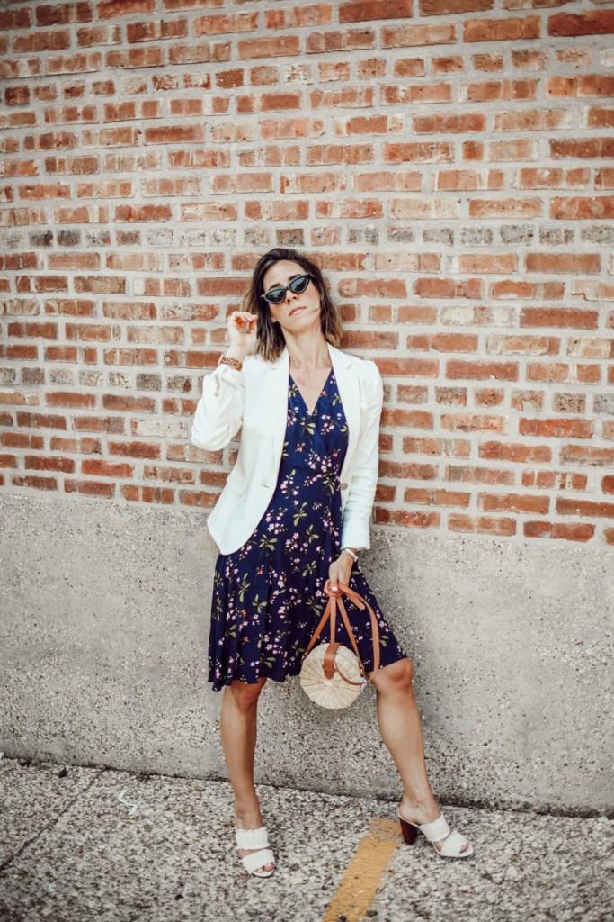 Blogger Mary Krosnjar wearing Floral Ruffle Wrap Dress and Linen Blend Blazer