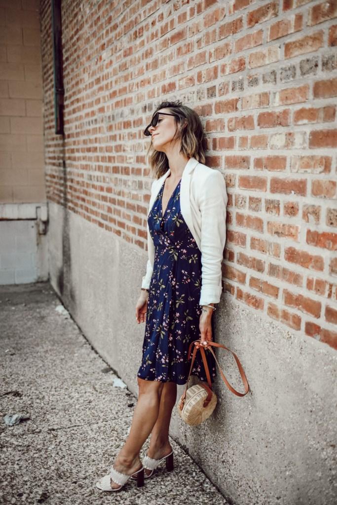 Ann Taylor Floral Ruffle Wrap Dress and Linen Blend Blazer