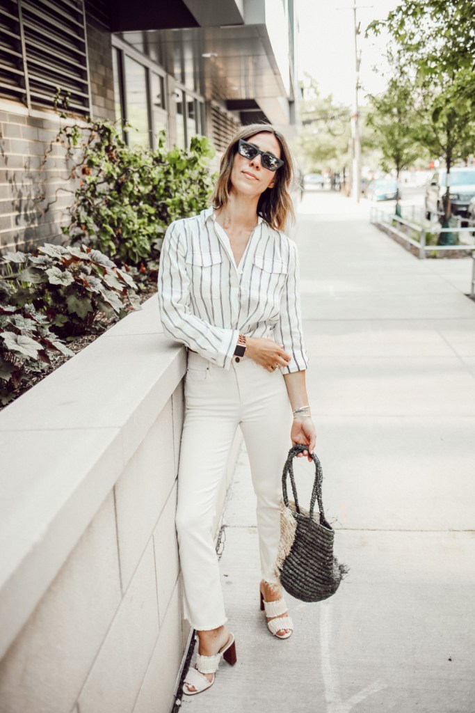 Blogger Mary Krosnjar wearing Ann Taylor Striped Camp Shirt