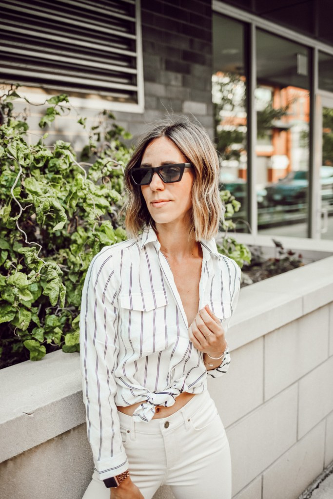 Blogger Mary Krosnjar wearing Ann Taylor Striped Camp Shirt and Rectangular sunglasses
