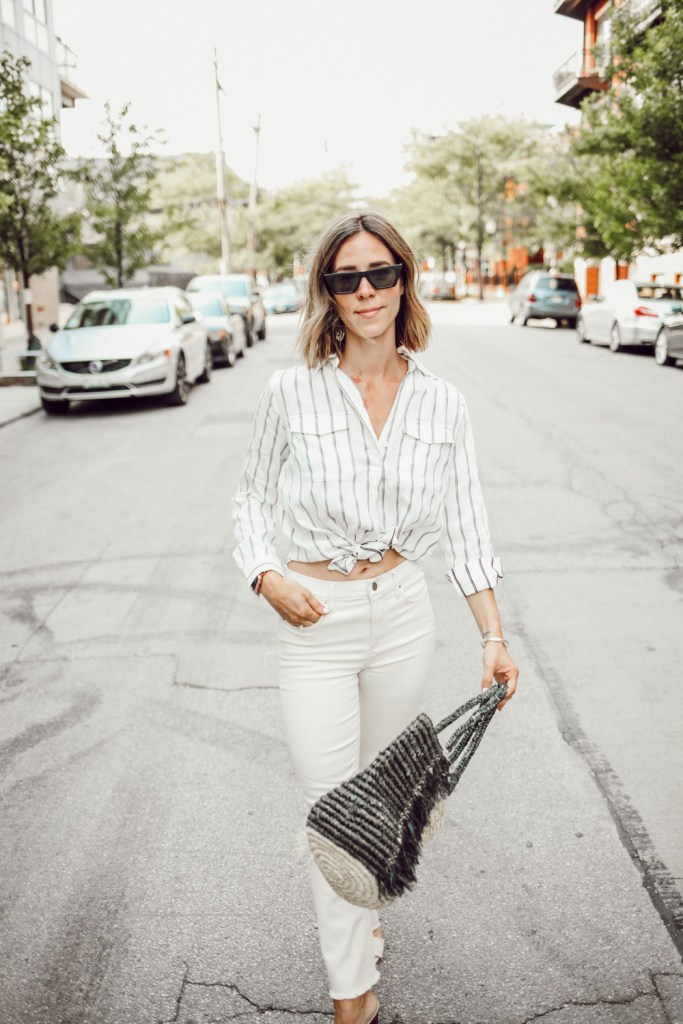 Blogger Mary Krosnjar wearing Ann Taylor Raw Hem Denim and Striped Camp Shirt