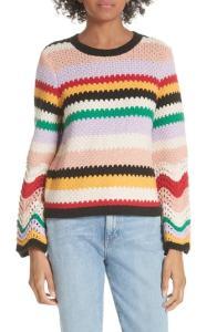 Alice + Olivia Alivia Stripe Bell Sleeve Cotton Blend Sweater