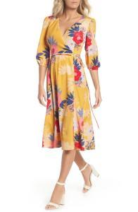 Eliza J Faux Wrap Midi Dress