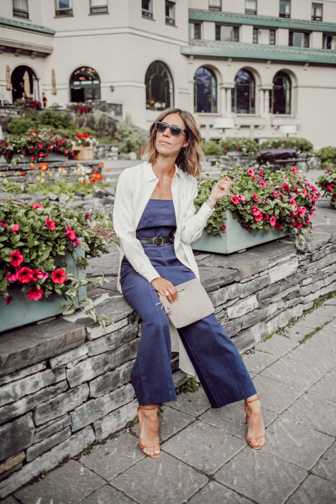 Blogger Mary Krosnjar wearing Long Sleeve Button-Up Tunic and Who What Wear Jumpsuit