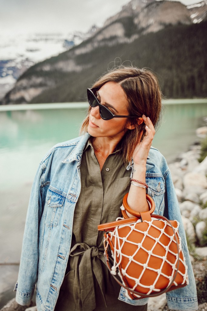 Blogger Mary Krosnjar wearing Women's Boiler Suit Coveralls and Mango Net Bag
