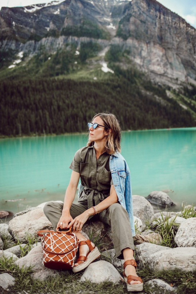 Blogger Mary Krosnjar wearing Women's Boiler Suit Coveralls and Net Bag