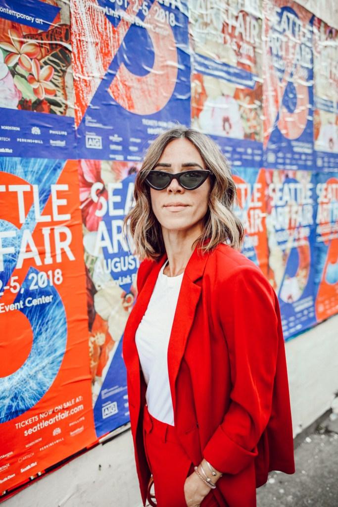 Blogger Mary Krosnjar wearing Topshop Slouch Blazer and Cat Eye Sunglasses