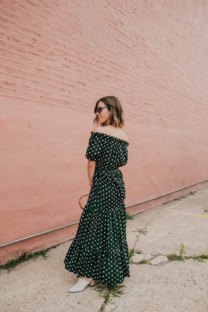 Polka Dot Fall Maxi Dress and AGL Mules