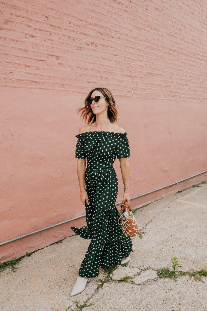 Blogger Mary Krosnjar wearing Polka Dot Fall Maxi Dress and AGL Mules