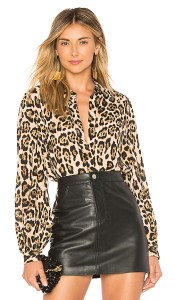 Blogger Mary Krosnjar wearing Marled x Olivia Culpo Button Down Top in Leopard